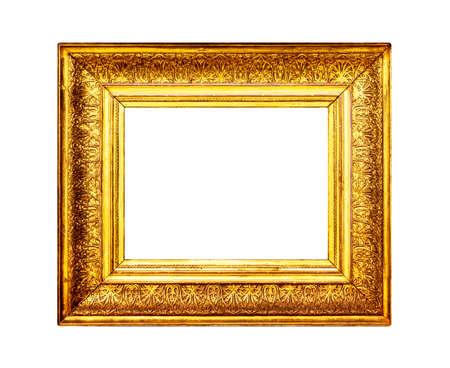 Aged gold frame border isolated on white background