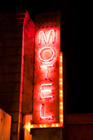 old sign: Night neon motel sign Editorial