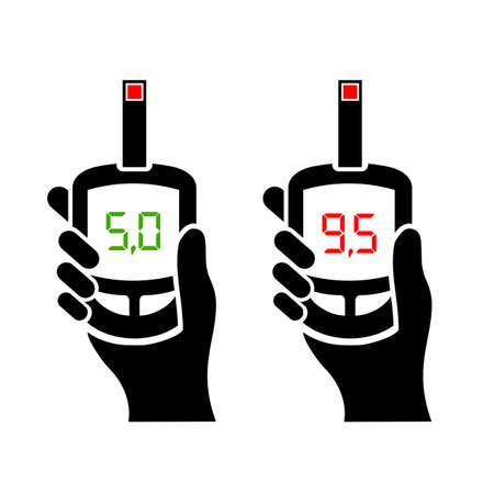 diagnosing: Diabetes diagnosing blood test icons set Illustration