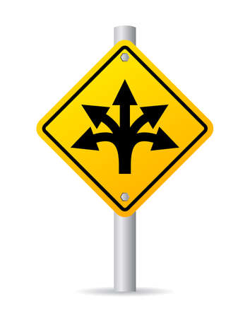 curved road: Confusing direction road sign