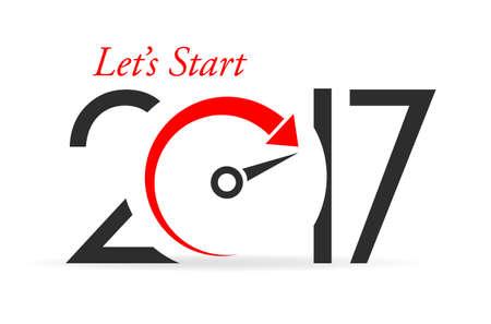 lets: Lets start new year, greeting card design Illustration