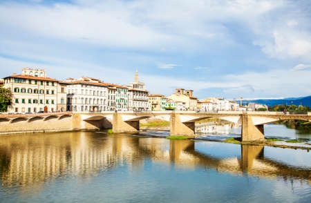 old photograph: Florence, Italy - September 14, 2016: Arno river bridge in Florence, Toscana