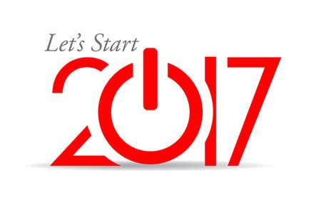 Vamos a empezar 2017 tarjeta de año nuevo, pulse el botón de encendido idea Vectores
