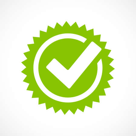 Green tick mark icon Illustration