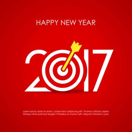 Happy new year 2017 card, reaching goals motivational design