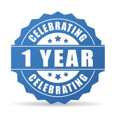 1 an anniversaire célébrant l'icône Vecteurs