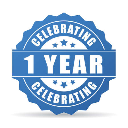 1 anno di anniversario che celebra l'icona Vettoriali