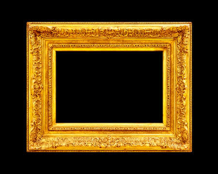 large gold picture frames old gold frame isolated on black background