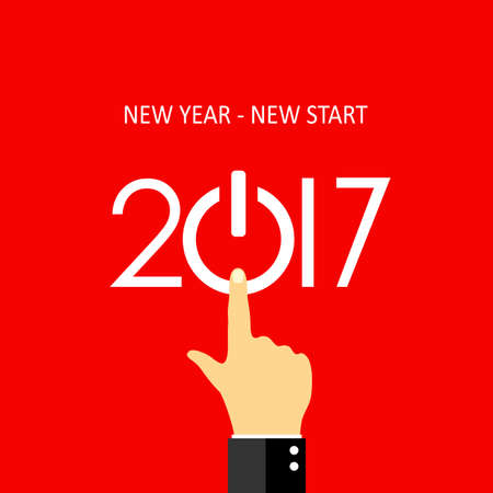 turns of the year: New year new start 2017 greeting card design Illustration