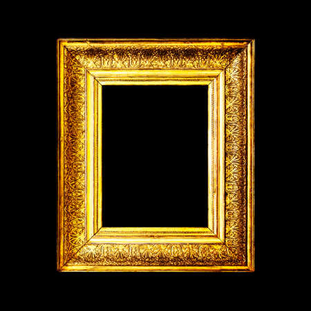 baroque border: Old antique gold frame isolated on black background