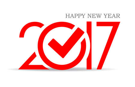 Happy new year 2017 symbol with check mark Illustration