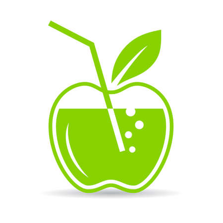 colorful straw: Natural apple juice icon Illustration