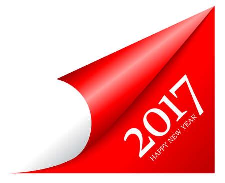 New 2017 year peeled page corner 向量圖像