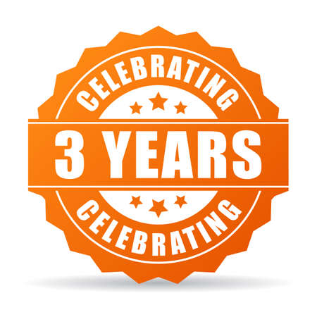 Three years anniversary celebrating icon Illustration