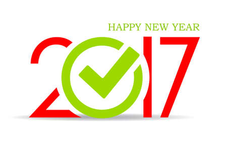 happy new year text: Happy new year 2017 icon Illustration