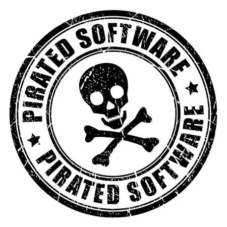 Pirated software rubber stamp