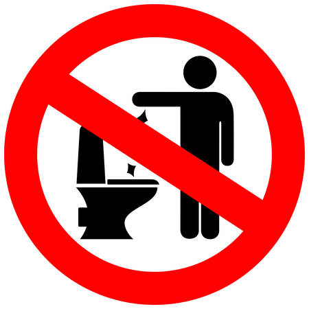 can not: No toilet littering sign Illustration