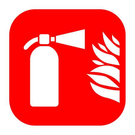 conflagration: Fire extinguisher and flame sign Illustration