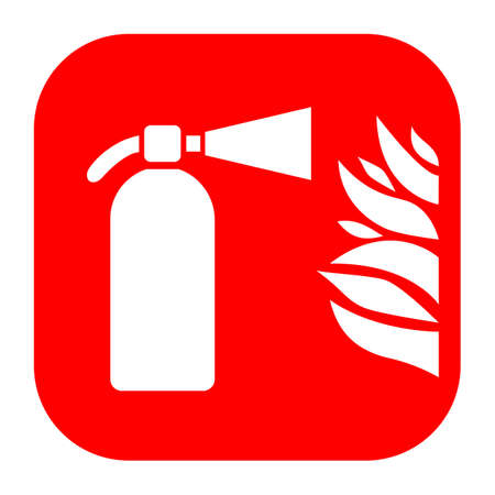 Fire extinguisher and flame sign Illustration