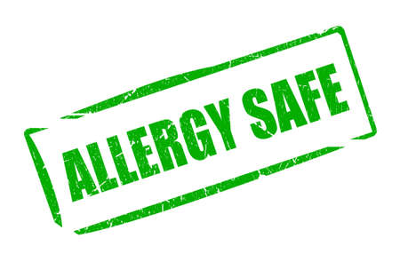 allergic reactions: Allergy safe rubber stamp Stock Photo