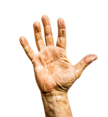 흰 배경에 고립 된 일하는 사람 더러운 거친 손