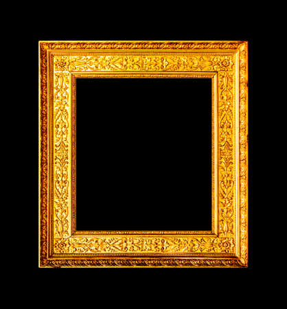 photo: Old wood ornate frame isolated on black background Stock Photo