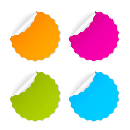 rolled up: Round curled sticker set isolated on white background Illustration