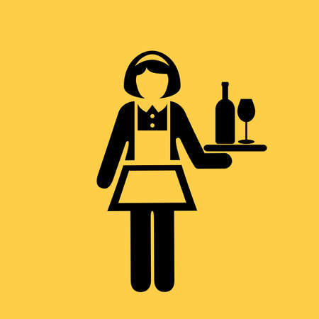 Waitress vector icon