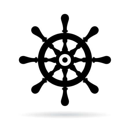 ship steering wheel: Ship steering wheel vector icon