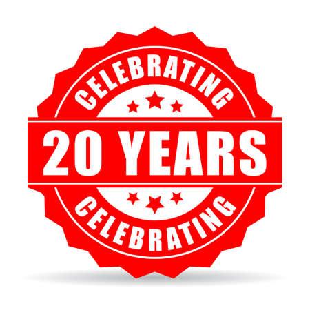 Vingt ans d'anniversaire icône célébrant Banque d'images - 67606166