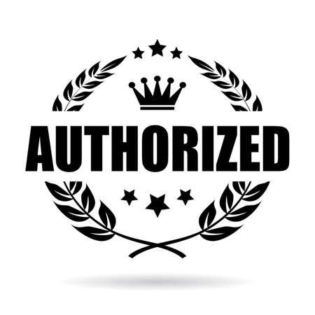 Autoryzowany laurowy ikon wektorowych