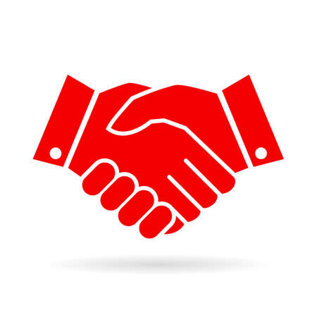 icon red: Handshake vector icon Illustration