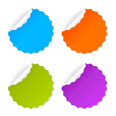 rolled up: Round vector sticker set