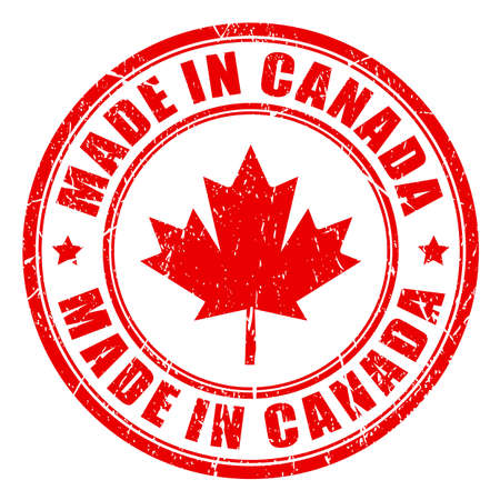 canadian flag: Made in Canada rubber stamp Illustration