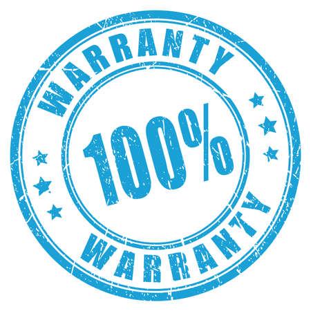 hundred: Warranty rubber vector stamp Illustration