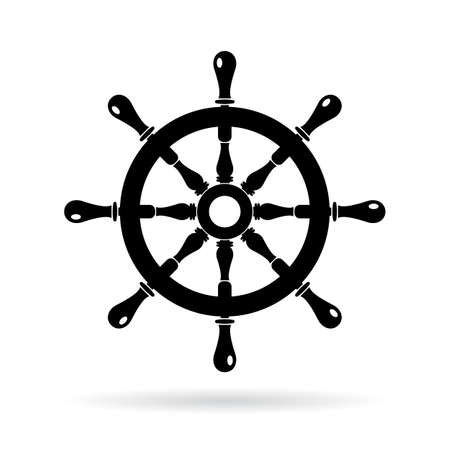 Boat steering wheel vector icon