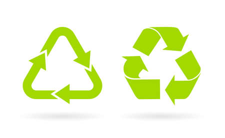 Green triangle recycled vector icon