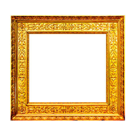 old frame: Old gold wooden frame isolated on white background Stock Photo