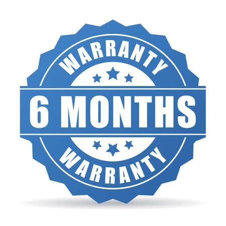 6 개월 보증 벡터 아이콘