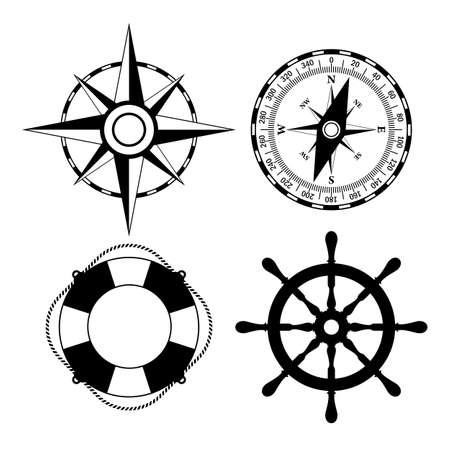 voilier ancien: icônes vectorielles marines définies