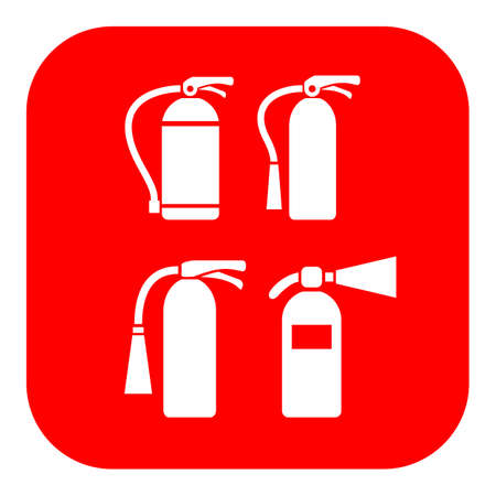 conflagration: Fire extinguisher vector icons set Illustration