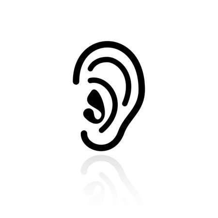 acoustical: Ear hearing vector icon