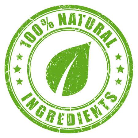 Natuurlijke ingrediënten rubber vector stempel