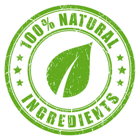 Natural ingredients rubber vector stamp Illustration