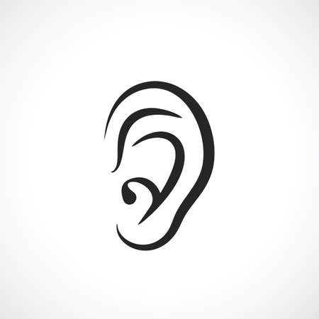 listener: Auditory ear vector icon Illustration