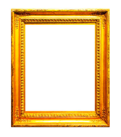 Old wooden picture frame isolated on white background Stock Photo