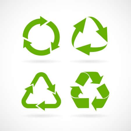 Flèches de cycle recyclé vector icon set Vecteurs