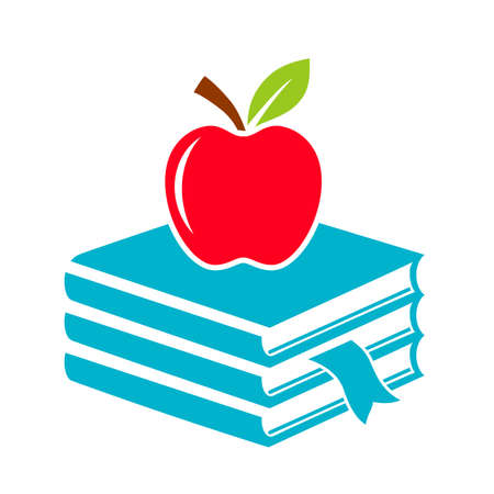 Apple and books, abstract school icon