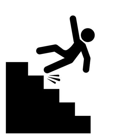 Stairs falling danger vector icon Illustration