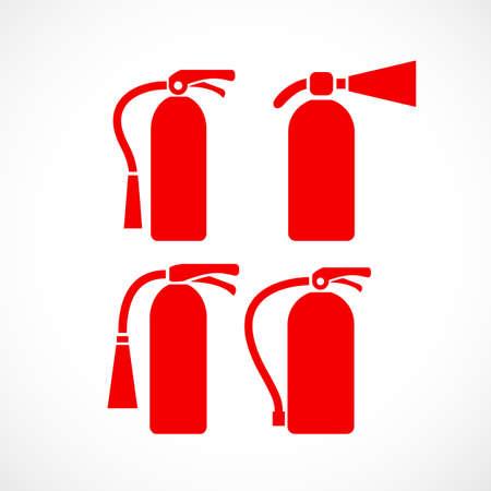 extinguishing: Fire extinguisher vector icon set